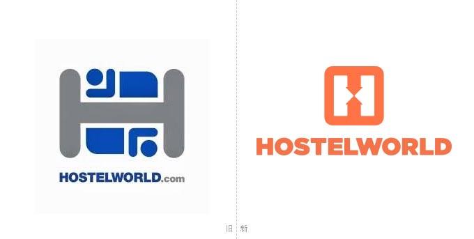 全球旅舍预订网站Hostelworld.com新旧标识设计对比